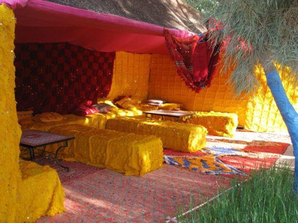 Wildly exotic patio textiles, Yasmina Hotel, Erg Chebbi