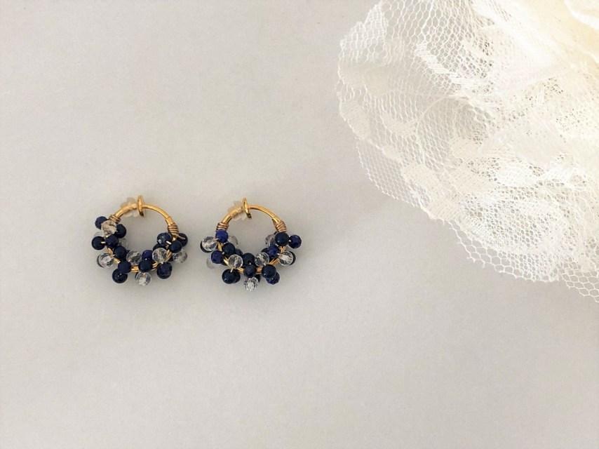 2種類の宝石質天然石のごろごろフープイヤリング [BLUE]