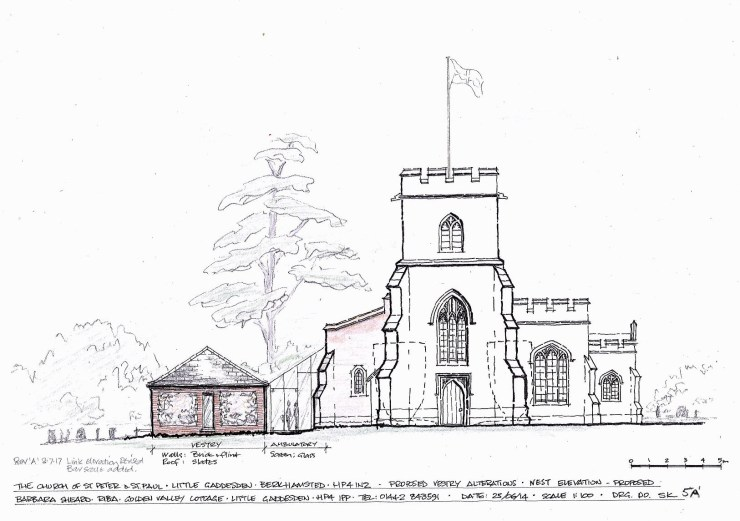 West elevation of the church and proposed vestry as altered