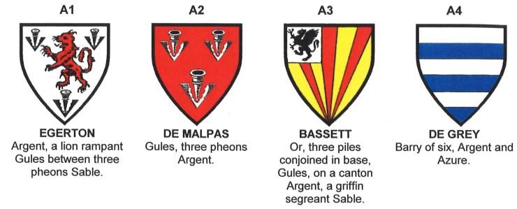 Coats of arms of Egerton, de Malpas, Bassett and de Grey.