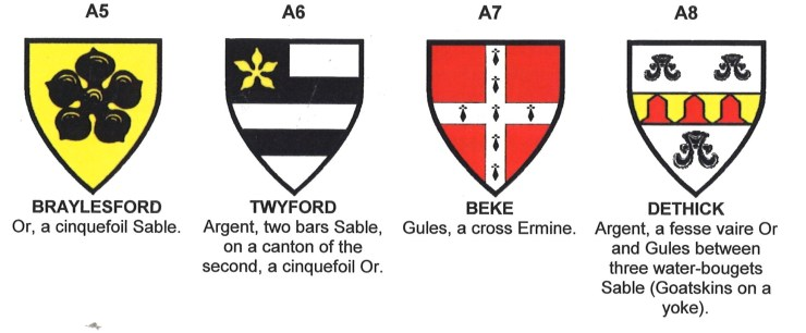 Coats of Arms of Braylesford, Twyford, Beke and Dethick