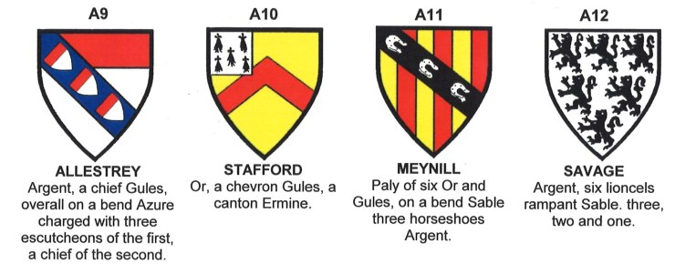 Coats of Arms of Allestrey, Stafford, Meynill and Savage