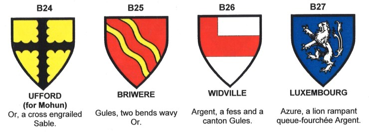 Arms of Ufford, Briwere, Widville and Luxembourg