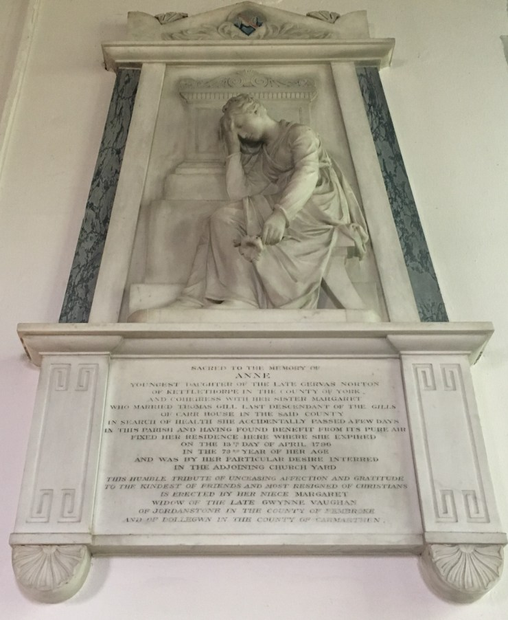Photo of Memorial to Anne Gill, née Norton, in the Bridgewater Chapel.