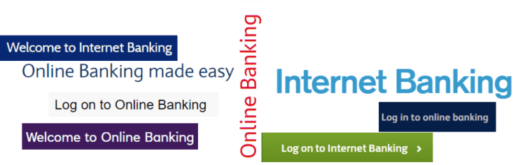Collage of online banking images