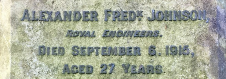 Photo of Alexander Johnson's gravestone (detail)