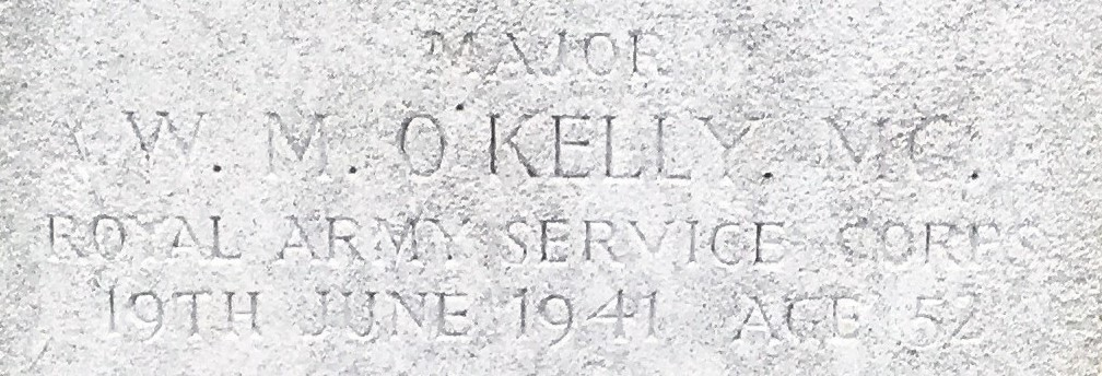 Photo of William O'Kelly's headstone (detail)