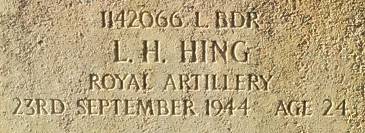 Photo of Leonard Hing's headstone (detail)