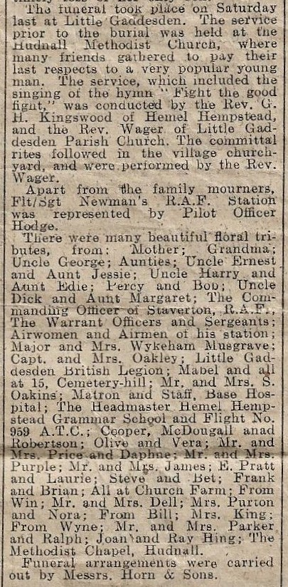 Image of Gazette report of funeral part 2