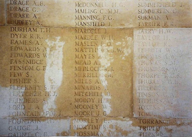 Photo of the commemoration of Alfred Mead on the Arras Memorial