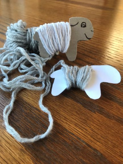 Photo of wrapping wool around sheep cut-out