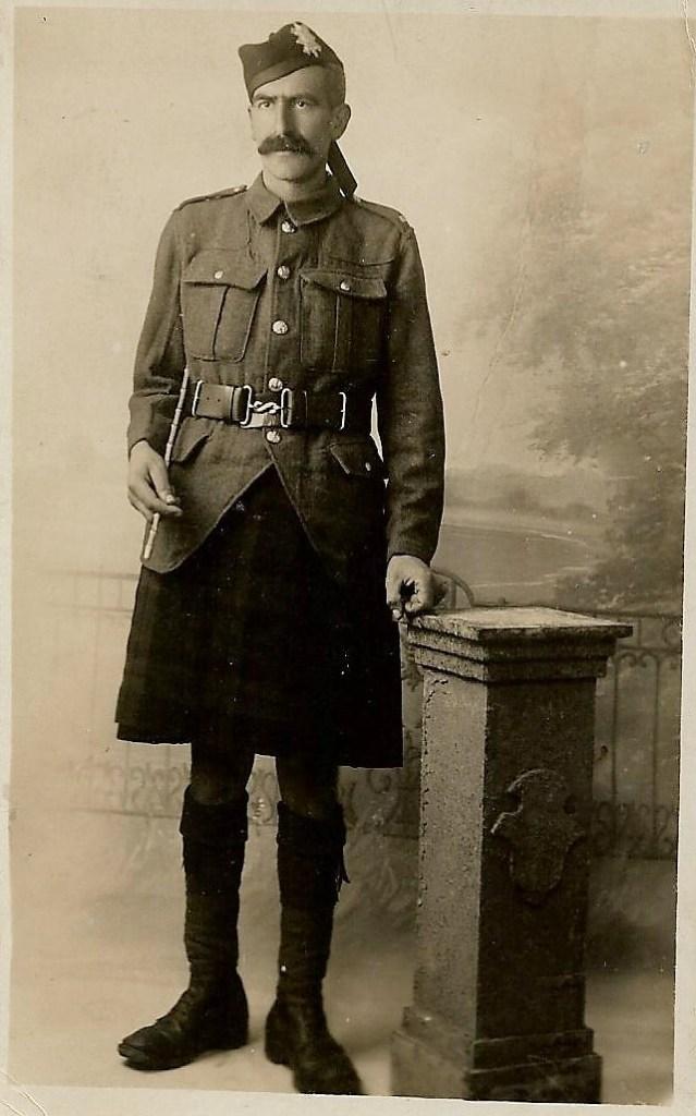 Photo of Steve Oakins in Highland Light Infantry uniform 1917-18