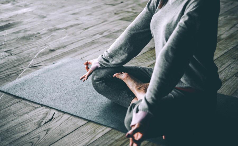 All In grey Girl In Yoga Pose image