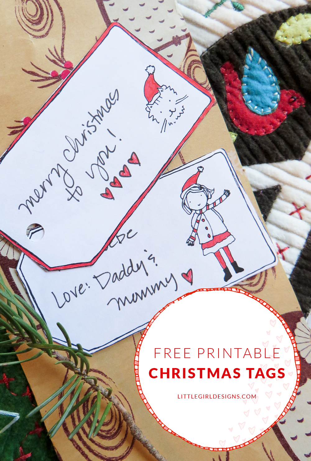 Free Printable Gift Tags - a set of sweet printable gift tags for you to download and enjoy @ littlegirldesigns.com