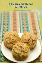 Delicious, sugar-free and gluten-free (if you use gf oats!) banana oatmeal muffins for you and your munchkin @ littlegirldesigns.com.