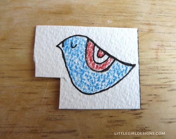 Step four in how to make a little bird bookmark @littlegirldesigns.com