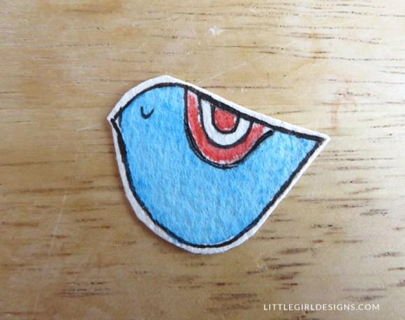 Finished! Step five in how to make a little bird bookmark @littlegirldesigns.com