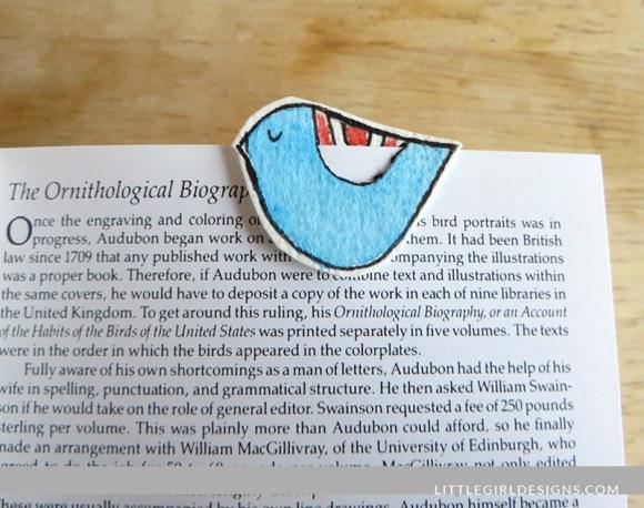 Make a little bird bookmark! Instructions at littlegirldesigns.com.