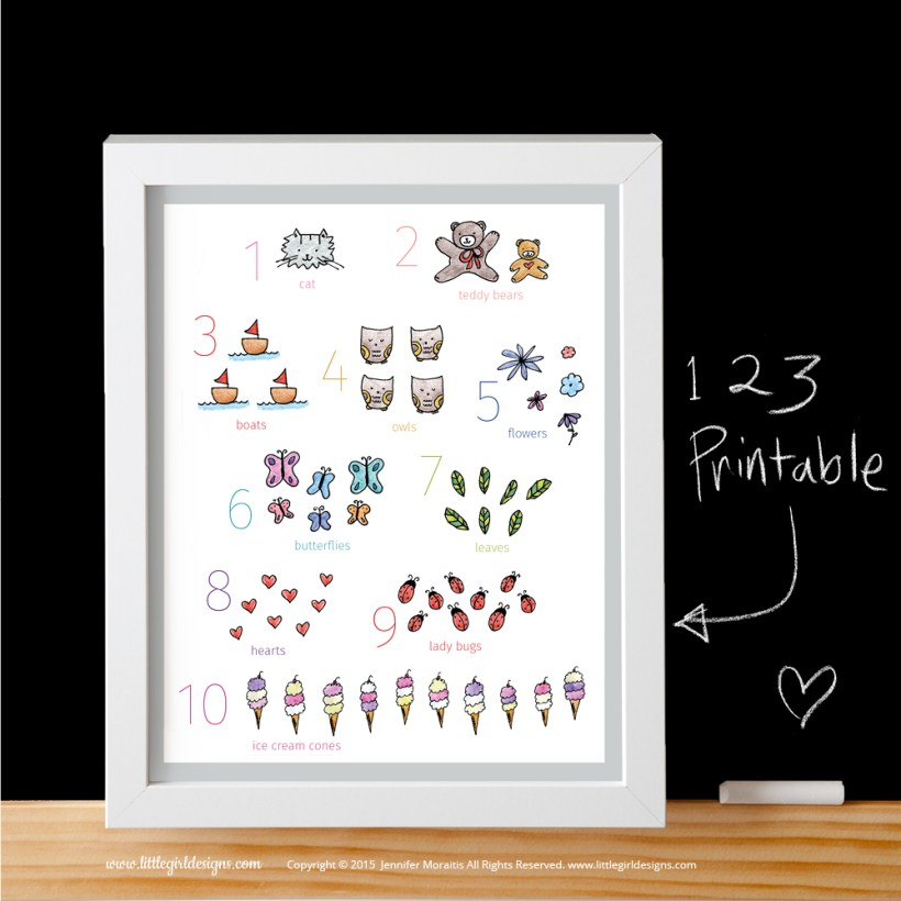 An adorable numbers printable with a gray border from the My Little Girl Designs shop on Etsy. @littlegirldesigns.com