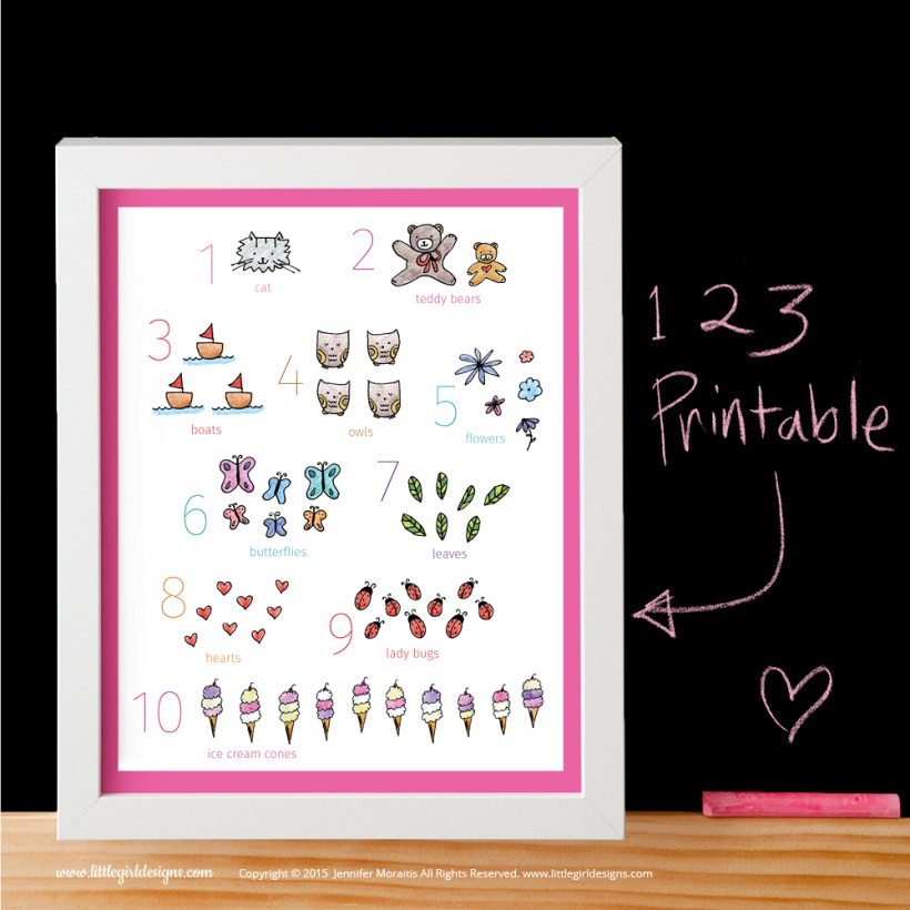 An adorable numbers printable with a pink border from the My Little Girl Designs shop on Etsy. @littlegirldesigns.com