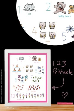 An adorable numbers printable from the My Little Girl Designs shop on Etsy. Perfect for a baby shower! Photo shows a closeup of the print. Available with a pink, turquoise, or gray border @littlegirldesigns.com