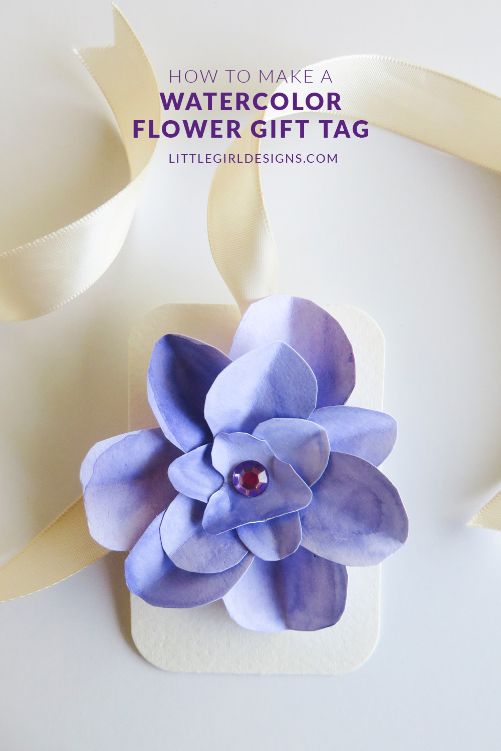 How to Make a Watercolor Flower Gift Tag - Guest post on CreativeKKids. Create a lovely gift tag that is perfect for weddings, Mother's Day, birthdays, and baby showers @littlegirldesigns.com