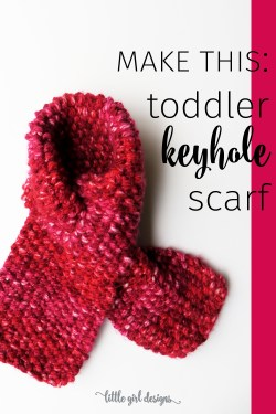 This toddler keyhole scarf knitting pattern is so easy to make. I love this scarf because it won't fall off—the keyhole keeps it nice and snug! This knit pattern can also be modified for adults.