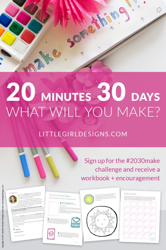 Join the 2030make 30 day creativity challenge! I'm busy, you're busy, we're all busy...BUT that shouldn't keep us from creating, should it? Join the #2030make challenge and you'll receive a printable workbook, four lessons on creativity, and 7 videos from our live sessions for the challenge. You'll also enjoy the fun of being able to work on your creative projects for the next 30 days. Whoohoo!