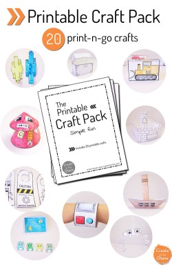 Printable Craft Pack - Are you looking for activities do with your kids that won't cost an arm and a leg? This craft pack is full of great ideas that you can print on your computer for your kids to color and assemble. They will LOVE this!
