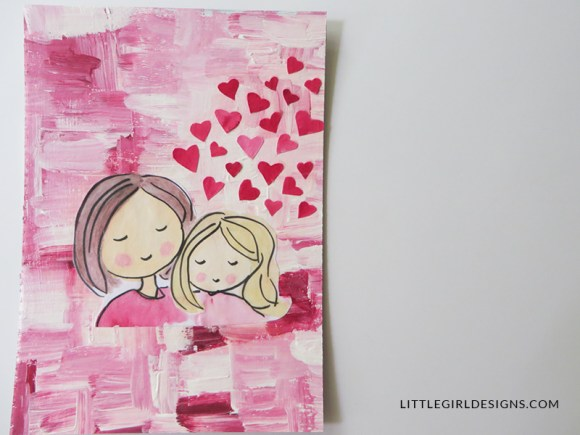 Make An Art Journal: Mommy & Me Collage Cover - How to make an art journal cover using chip board, paint, and collage. This is the second post in a series on how to make your own journal. You could also use this technique to make a painting of a mommy and me collage for your home. Makes a great gift for Mother's Day and birthdays! @ littlegirldesigns.com
