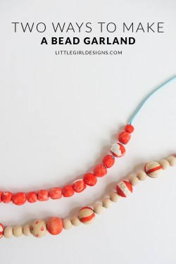 Two Ways to Make a Bead Garland - Two simple tutorials that will show you how to make a homemade bead garland. Change up the colors to match your decor and have fun! Makes a great Christmas gift and adds a cute touch to wreaths too. via littlegirldesigns.com