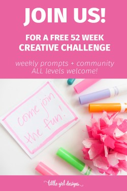 Explore your inner artist with our FREE 52 week Creative Play Challenge! Every week, we'll have a prompt to work on as well as a private Facebook community to cheer each other on. You can participate every week or whenever you feel the creative urge. Let's do this! :)