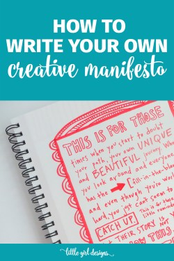Learn how to write a creative manifesto to remind yourself to silence your inner critic and keep on doing the beautiful work of creating. Love this.