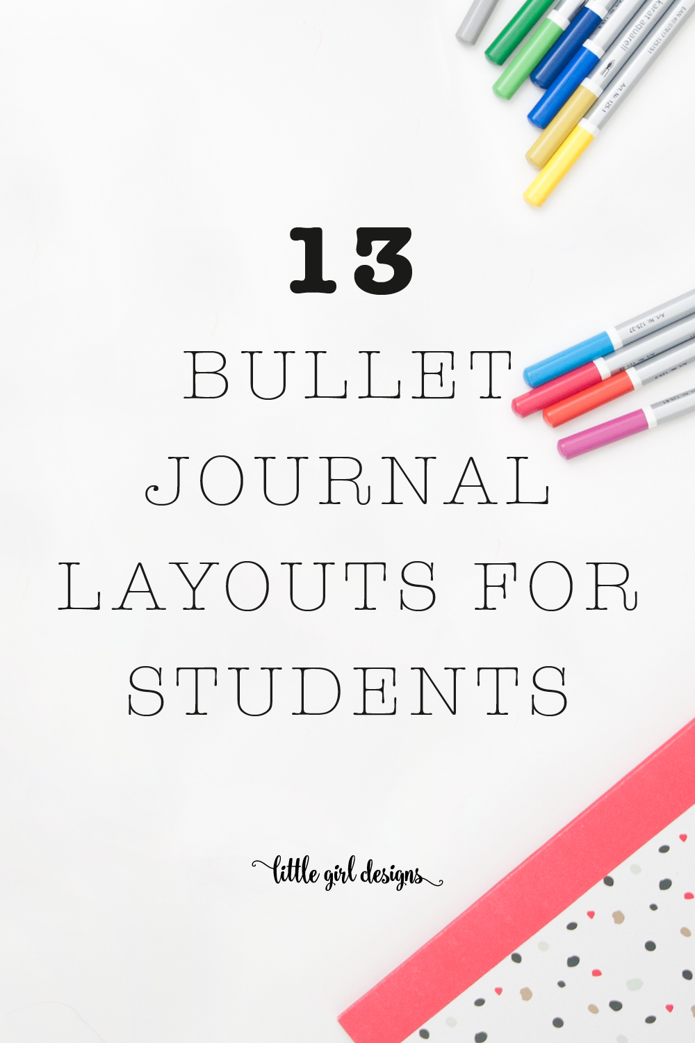 Get organized and inspired by these bullet journal layouts created by students! Use a bullet journal to take notes, journal, keep track of goals, and more!