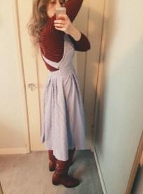 thrifted turtleneck & apron dress, vintage frye boots.