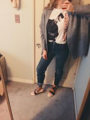 zara sweater, thrifted vintage morrissey t-shirt, vintage levis, miu miu ballet shoes.