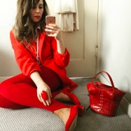 international women's day red. all vintage except for maryam nassir zadeh shoes.