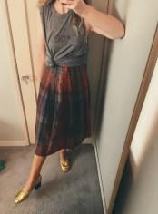 rodarte t-shirt, vintage skirt, celine shoes.