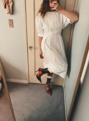 h&m faux celine dress, balenciaga knife boots.