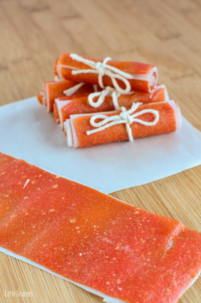 Little Grazers Homemade Papaya Fruit Roll Ups - gluten free, dairy free, finger foods, baby led weaning, fussy eaters, kids meal