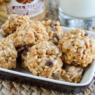 No Bake Peanut Butter Chocolate Chip Rice Krispie Bites