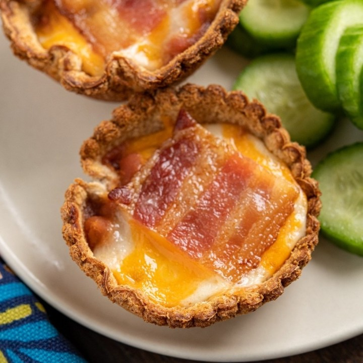 Bacon Baked Bean Cheddar Toast Cups