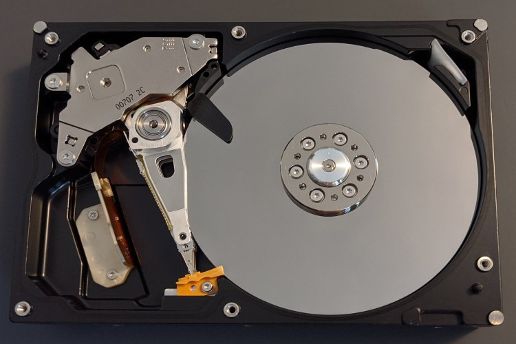 the inside of an optical hard disk drive