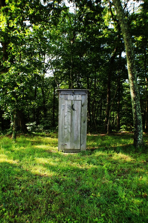 Portable toilet made of rustic wood sitting in woodland.