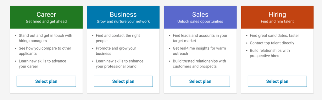 business tolls - linkedin premium options page