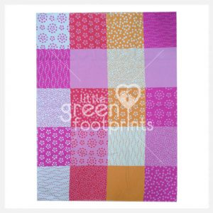 David Fussenegger Organic Cotton Cot Blanket Pink Patchwork - Side 1