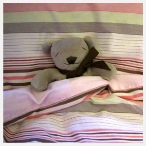 Maud n Lil Cubby The Bear in Bed