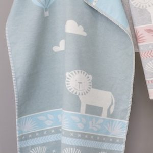 David-Fussenegger-grey-blue-lion-safari-Baby-Bassinette-Blanket