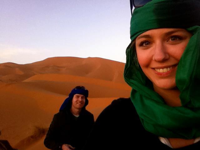 Riding camels through the Sahara desert
