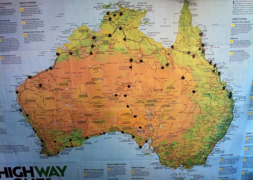 Here's Louise's official travel map! Look how far she travelled!